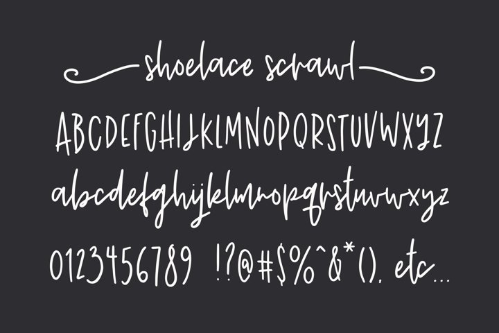 Shoelace Scrawl, a handwriting font example 1