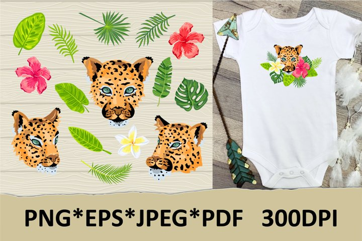 Leopard, tropical leaves and flowers clipart