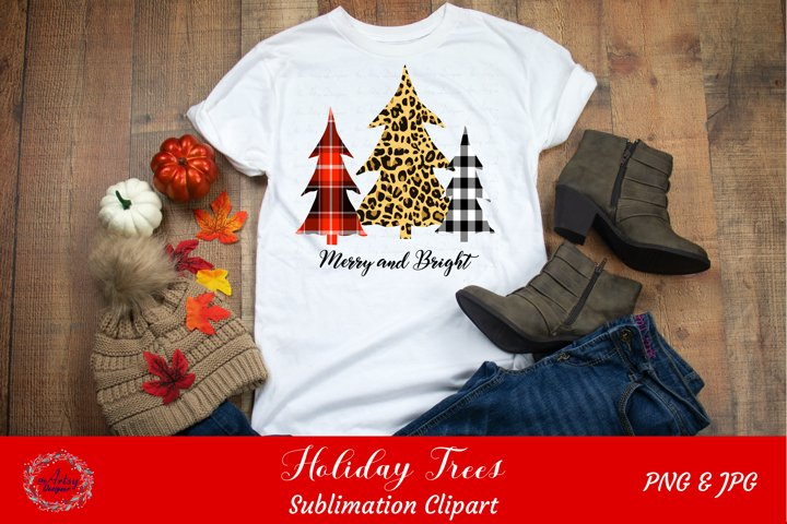 Merry and Bright Plaid Leopard Print Christmas Trees ClipArt