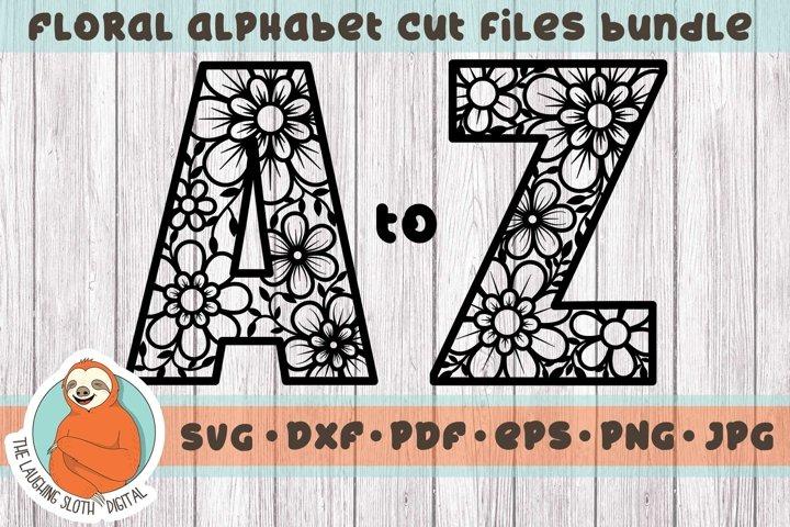 Flower Filled Letter, Alphabet Bundle SVG - Floral Aplhabet