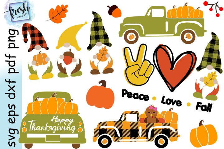 Thanksgiving SVG Bundle Gnome Svg Thanksgiving Truck Svg