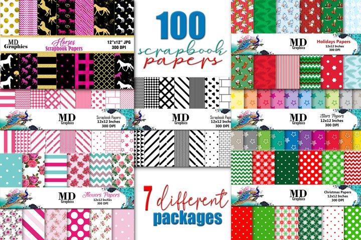 MEGA BUNDLE, 100 PAPERS, Digital Scrapbook Papers, Download