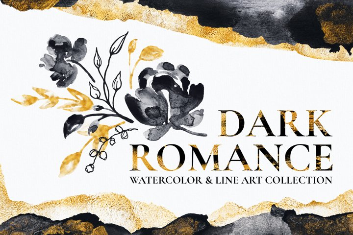Black and Gold Watercolor Flower Illustrations and Textures
