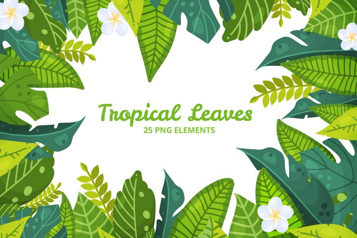 Greenery clipart. Banana, hibiscus, monstera, palm. PNG DIY3