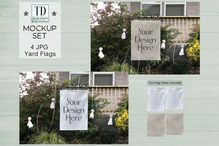 Yard Flag Mockups for Halloween, White & Burlap Flag Mock-Up