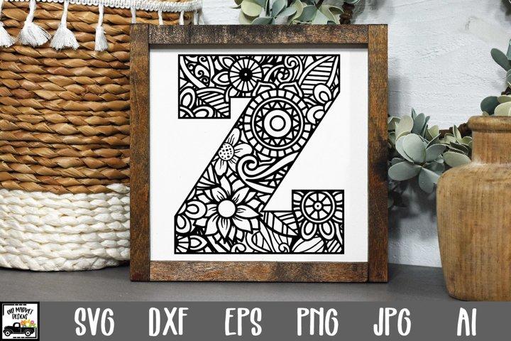 Letter Z SVG Cut File|Mandala Monogram Letter Z SVG File