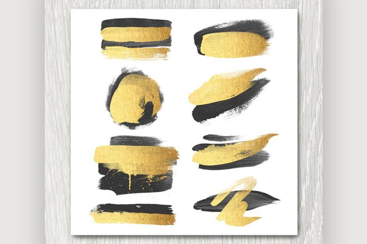 Gold and Black Brush Strokes Clipart