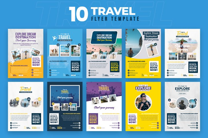 Travel 10 Flyer Template Bundle