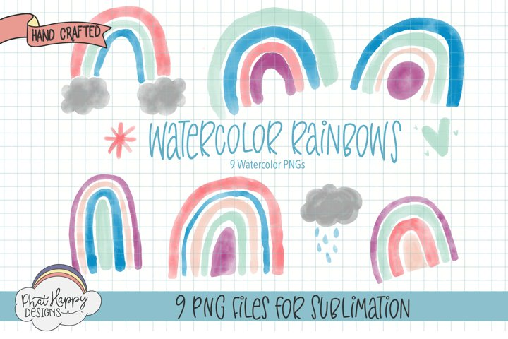 Watercolor Rainbows 9 Graphics at 300 DPI