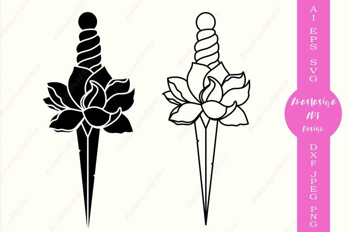 Sword monogram svg, Floral sword clipart, Knife dxf, Weapon