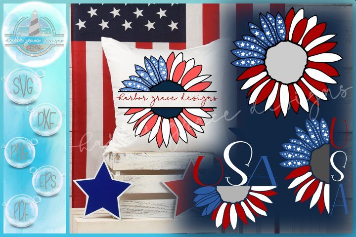 USA American Flag Sunflower Monogram |Split Frame | Half SVG