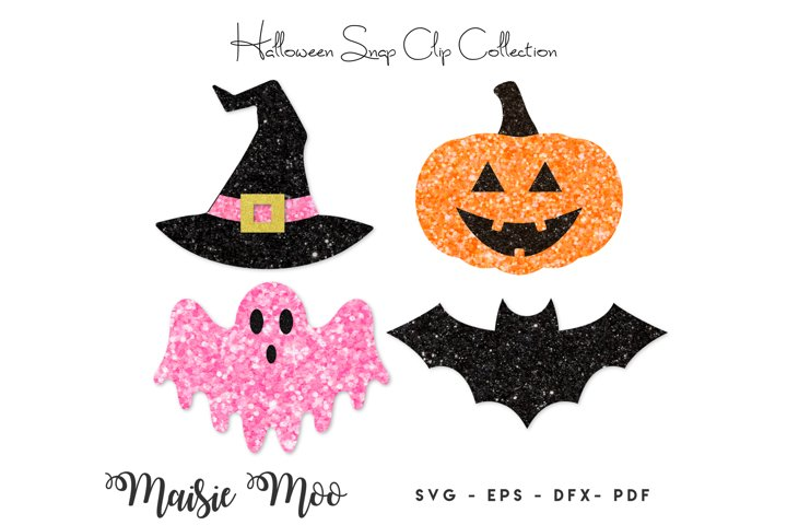 Halloween Snap Clip SVG, Bat Pumpkin Witches Hat Ghost