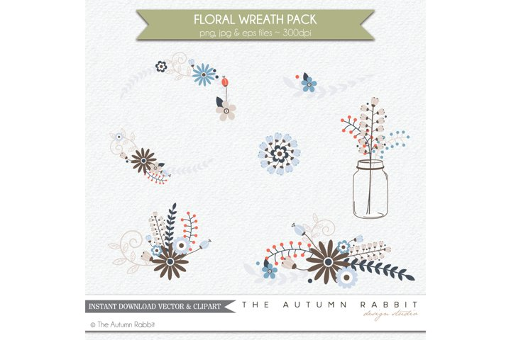 Floral Wreath Clipart Vectors example 1