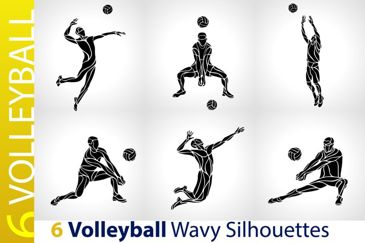 Volleyball Players / Volleyball Black Abstract Silhouettes