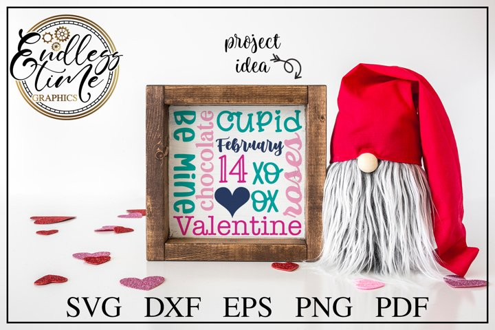 Valentines Day Word Collage SVG Cut File