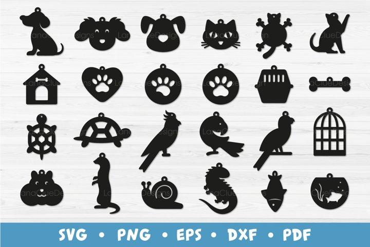 24 Pet Earrings Bundle - Animal Earrings SVG