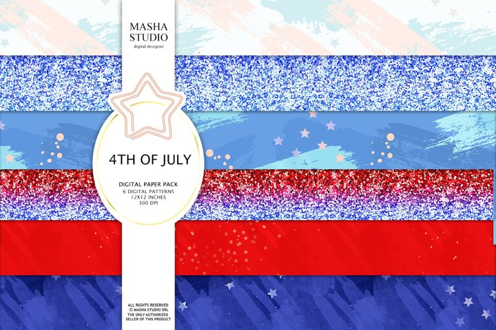 4th of July Basic Digital Papers