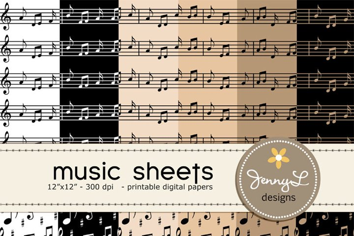 Musical Music Sheets Digital Papers