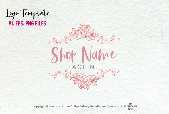 business logo template, rose, floral vintage frame
