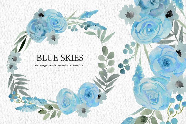 Blue Skies Botanical Watercolor Rose and Floral PNG Clipart