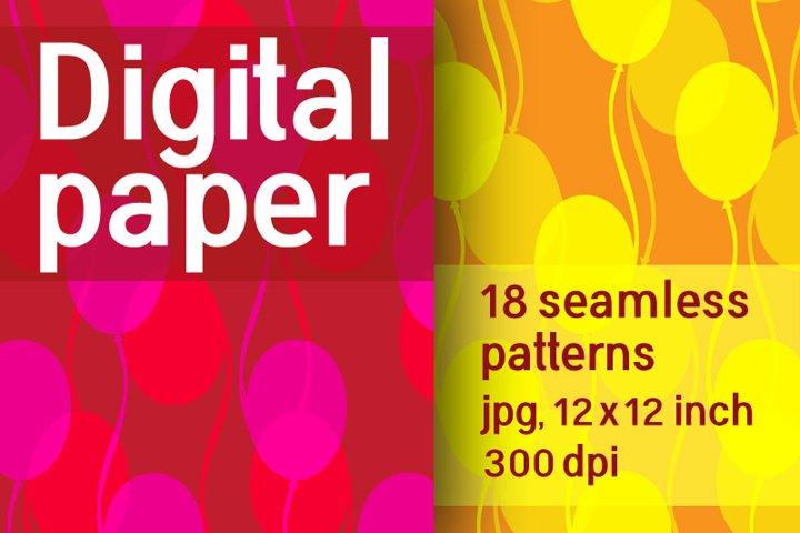 Set of 18 seamless patterns of balloons. Digital Retro paper