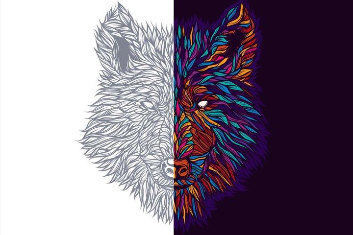 Vector wolf print