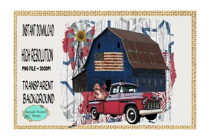 Land of The Free, Country Barn, Sublimation Design