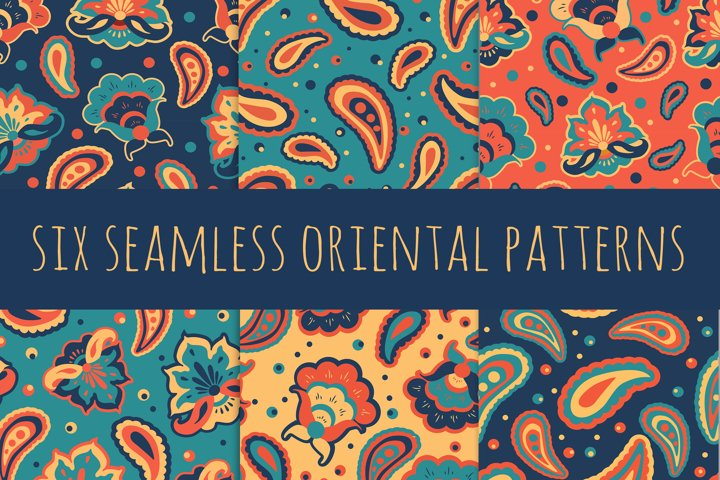 six vector seamless oriental pattern with ethnic ornaments