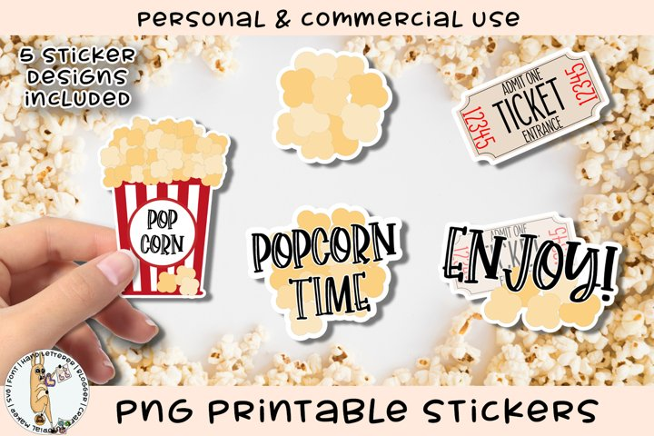 Popcorn Movie Day Stickers Printable PNG