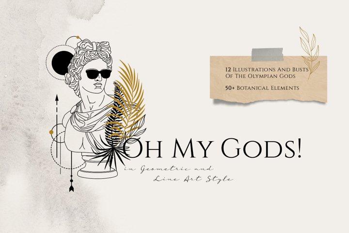 24 Olympian Gods & Goddess In Line Art Style