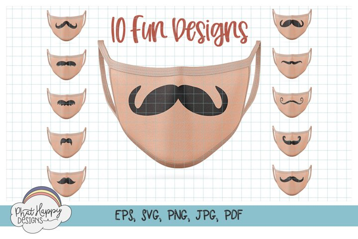 10 Funny Mustaches for Masks - SVG Cut Files