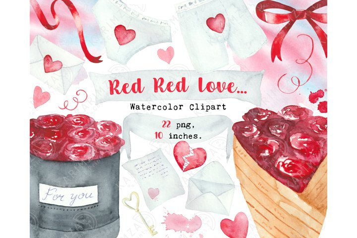 Valentines Day clipart watercolor, cute love clipart