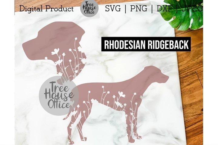 Rhodesian Ridgeback Dog Floral SVG, Flowers JPG PNG Clipart