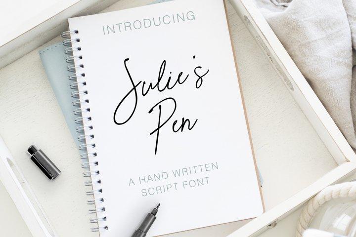 Julies Pen a Hand Written Script Elegant Font