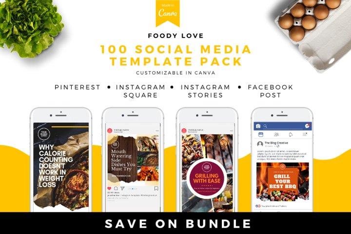 Foody Love Canva Social Media Template Pack