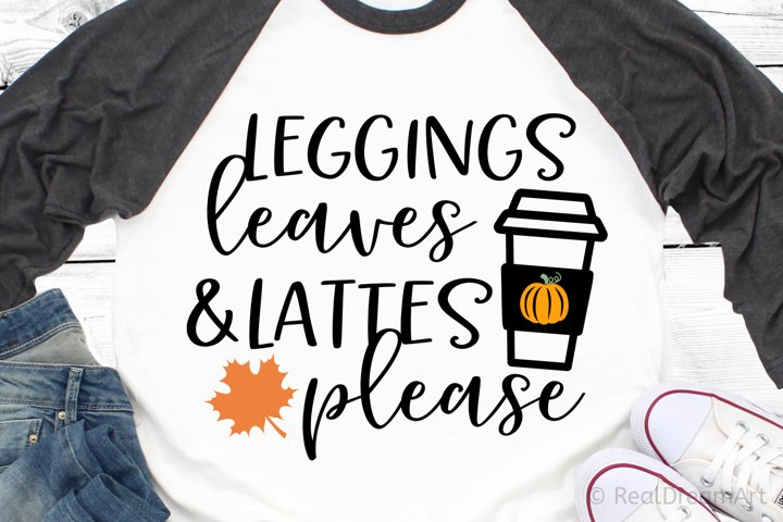 Leggings Leaves and Lattes Please SVG, DXF, PNG, EPS