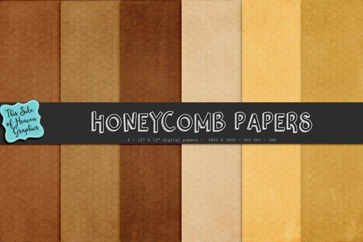 Textured Digital Scrapbook Papers - Honeycomb