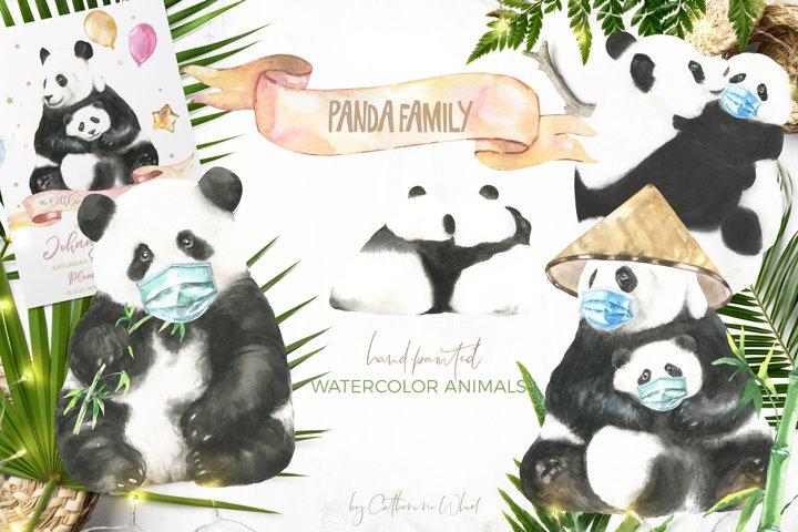 Watercolor Panda Family