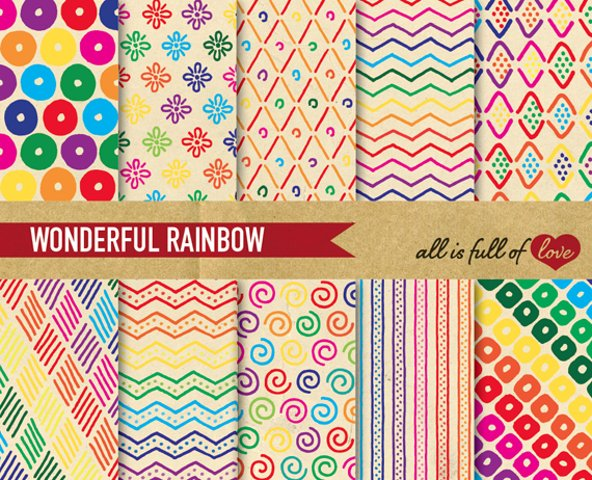 Hand Draw Vintage Background Patterns in Rainbow colors