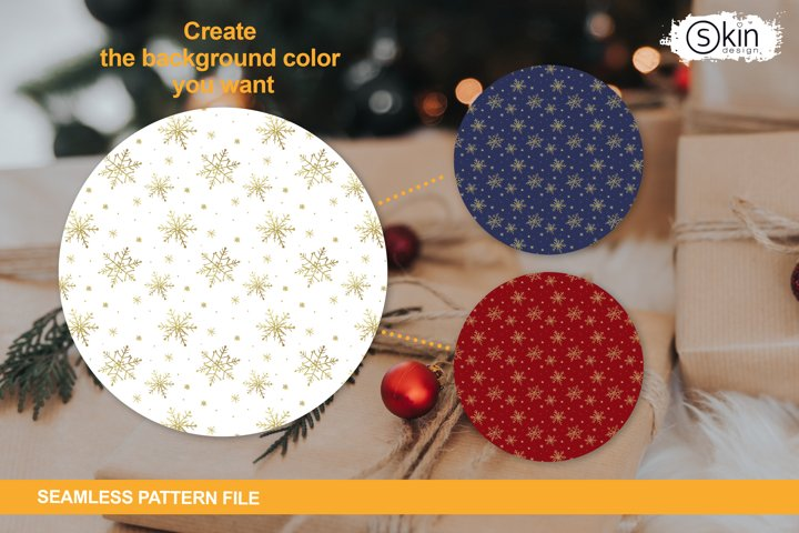 Seamless pattern with golden snowflakes