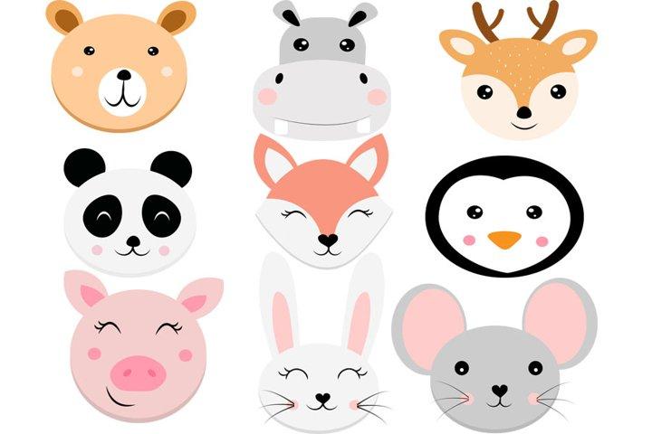 Animal faces svg, svg, bear svg, Cute Animal svg, hippo svg,