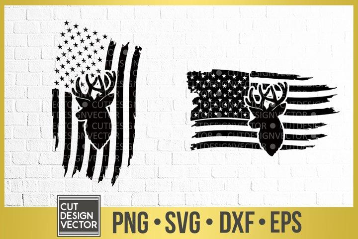 Distressed American Flag Deer SVG