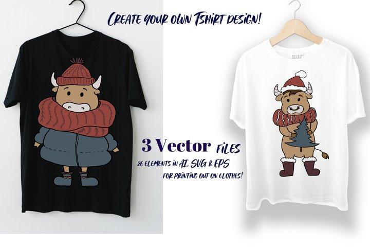 Scandinavian Christmas set. Vector flat New Year clipart. example 3