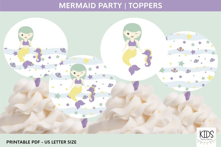 Mermaid party cupcakes toppers, 2 printable toppers