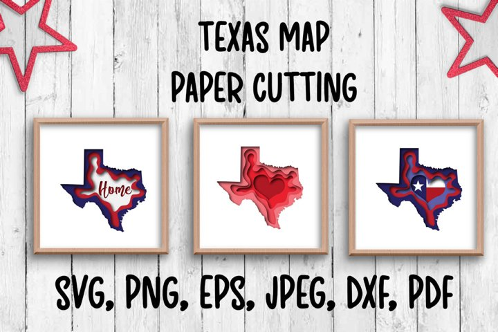 Texas map. Paper cutting
