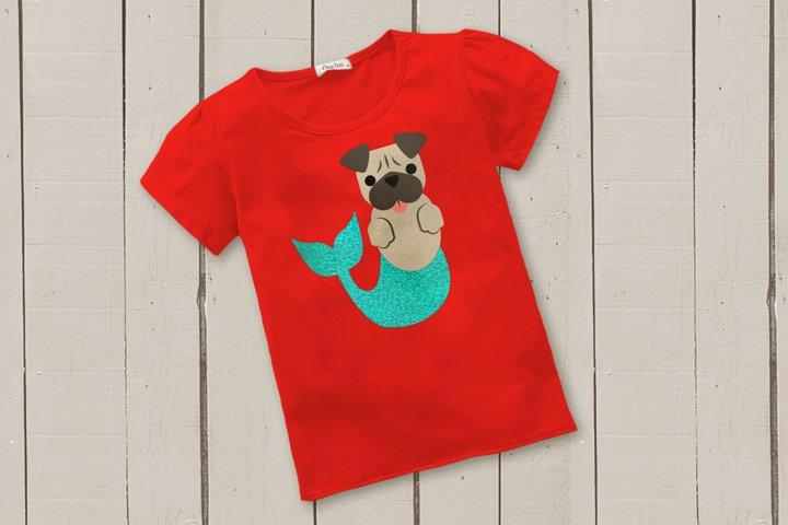Mermaid Pug and Pug Face SVG Design