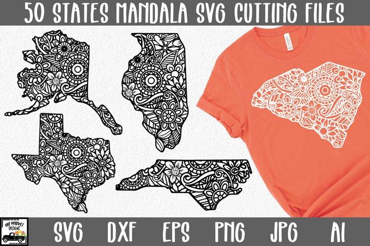 50 States SVG Bundle | Mandala States SVG Files