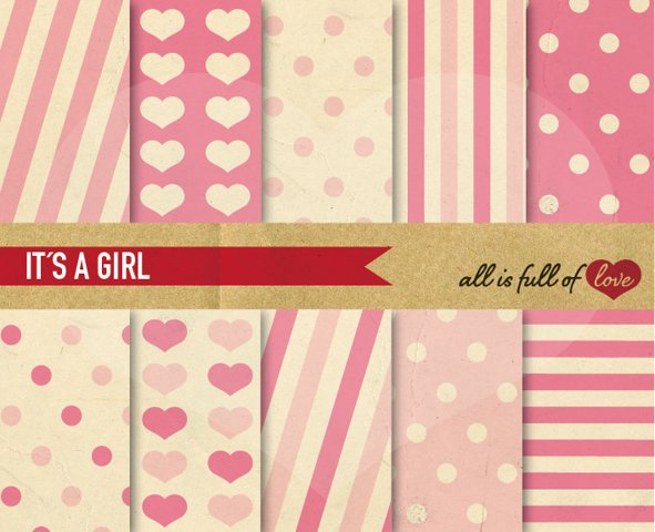 Pink Digital Paper Pastel Baby Background Patterns with Vintage Paper