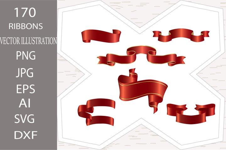 Ribbon. 170 Satin red ribbons set. Vintage, christmas ribbon
