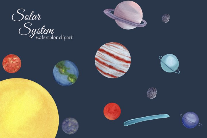 Solar System Watercolor Clipart, Planets, Space Clip art